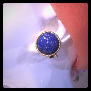 Vintage Les Bernard shimmering blue stone clips
